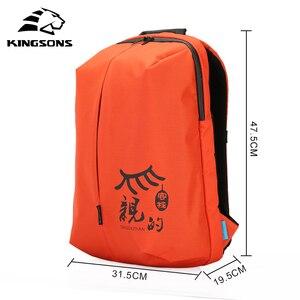 Image 2 - Mochilas de mujer Kingsons, diseño de patente, Mochila de 15 , bolso de escuela, bolsas de nailon de alta calidad Unisex, Mochila de viaje