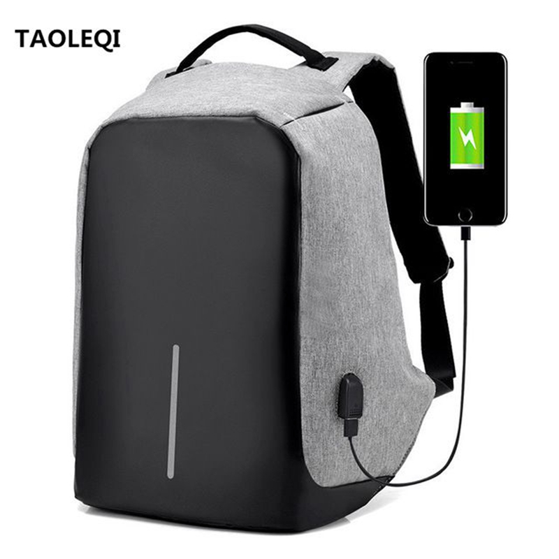TAOLEQI USB Charge Anti Theft Backpack Men Women Travel Security Waterproof School Bags Mochila Male 15inch Laptop Backpack Gray sopamey usb charge men anti theft travel backpack 16 inch laptop backpacks for male waterproof school backpacks bags wholesale