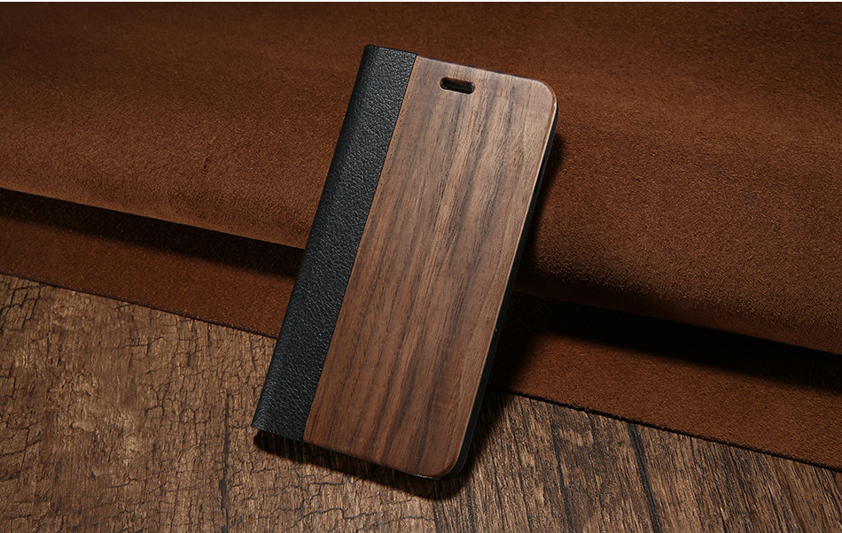 DOEES Real Wood Leather Case For iPhone 6 6S 7 7 Plus Cover Stand Holder Card Slot Vintage Cover For iPhone 6 7 Flip Wallet Case (11)