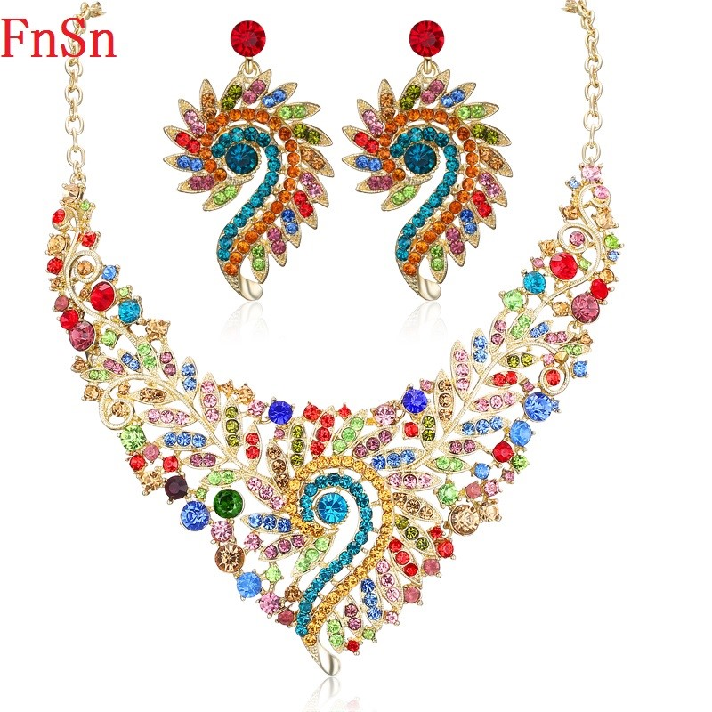 Fnsn Hot New Jewelry Set Crystal Choker Necklace Set Women Party Gift Gold Color Colorful Necklace Earring Fashion Jewelry Sale