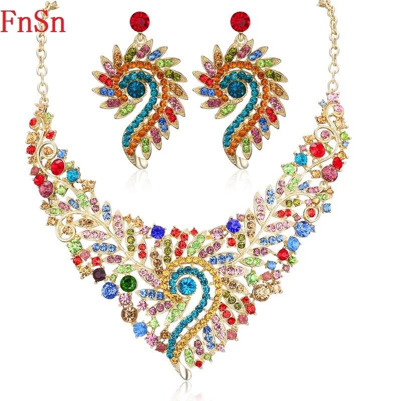 Fnsn Hot New Smycken Set Crystal Choker Halsband Set Kvinnor Party Gift Guld Färg Färgglada Halsband Örhänge Mode Smycken Försäljning