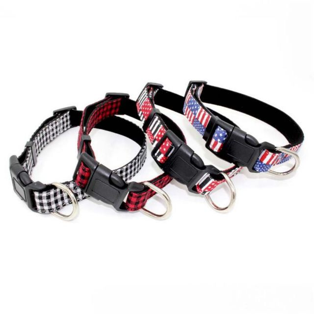In Microfibra regolabile Collari Per Cani Plaid In America Bandiera Collana Coll