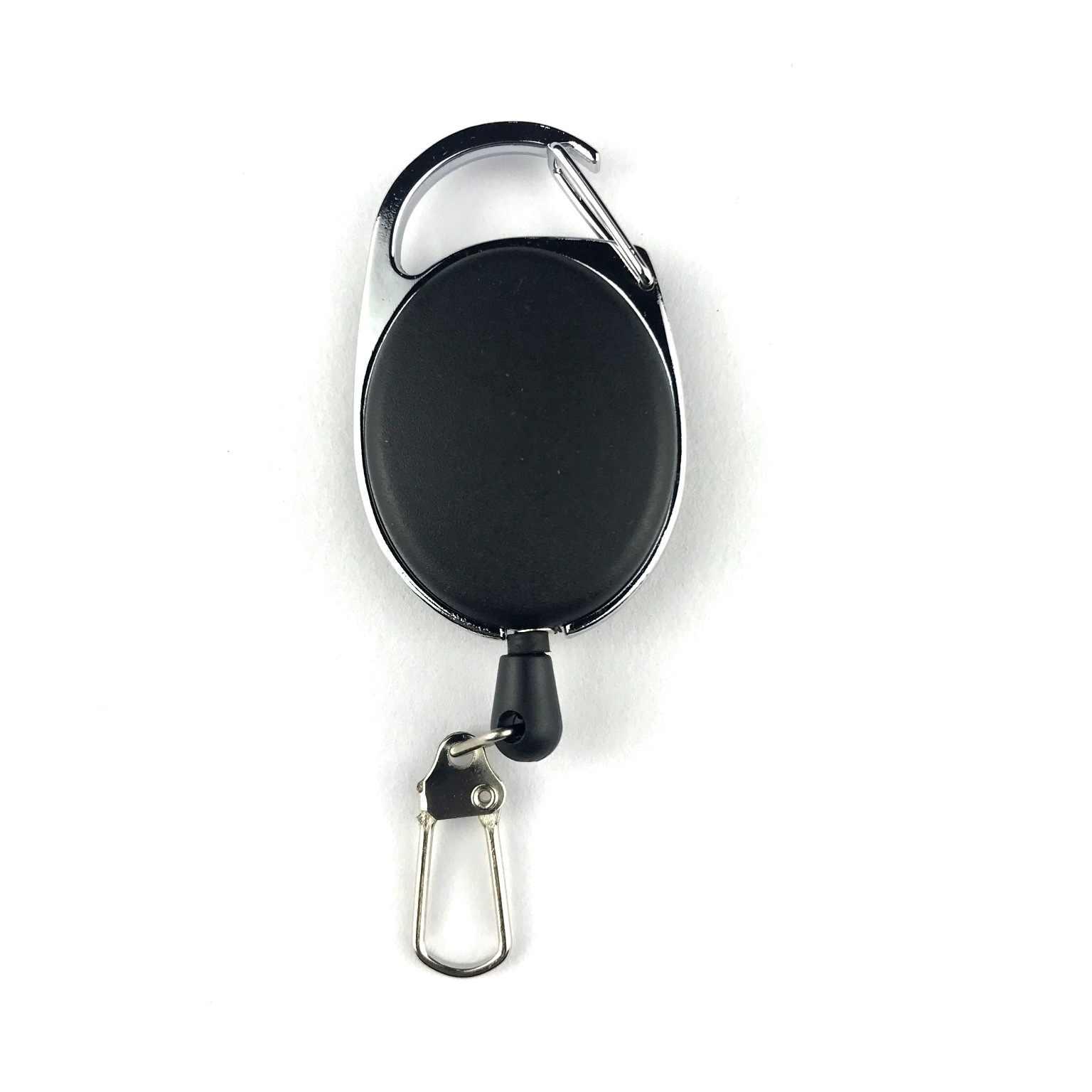 Llavero retráctil de retroceso 60cm cable negro carrete insignia Anti pérdida Yoyo Ski Pass ID tarjeta titular llavero cuerda de acero