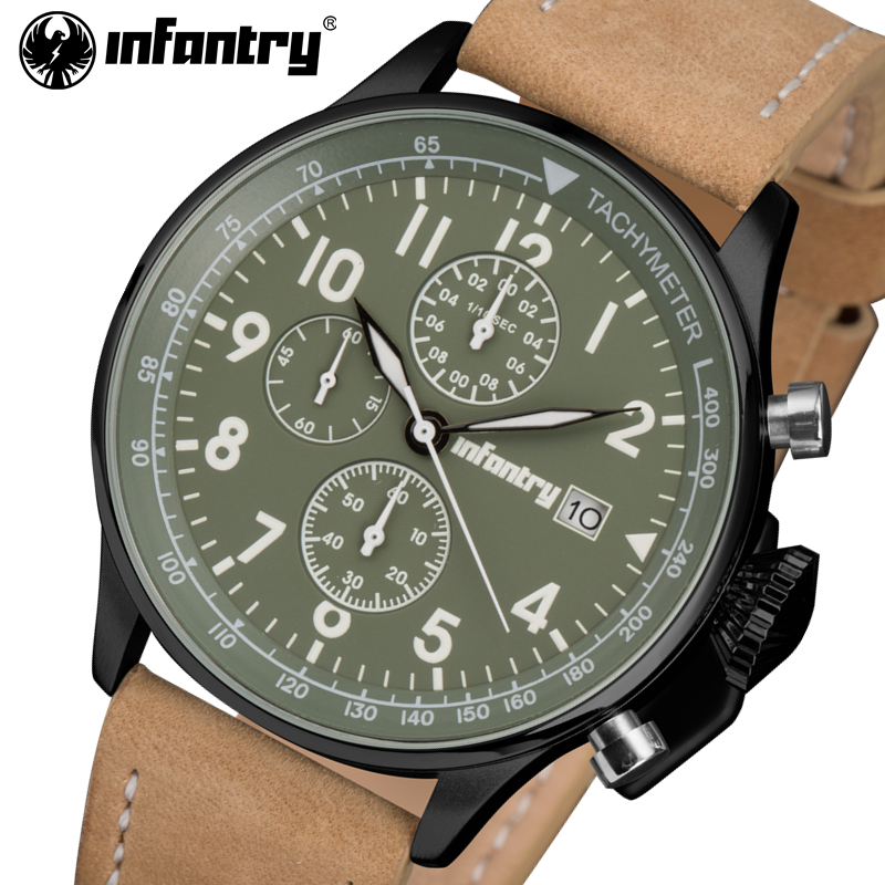 INFANTRY Men Quartz Watches Waterproof Big Dial Sports Clock PU Leather Strap Men's Military Army Wrist Watch Relogio Masculino big size dial plate fashion men s quartz leather watch wrist strap watches 8 type optional top quality