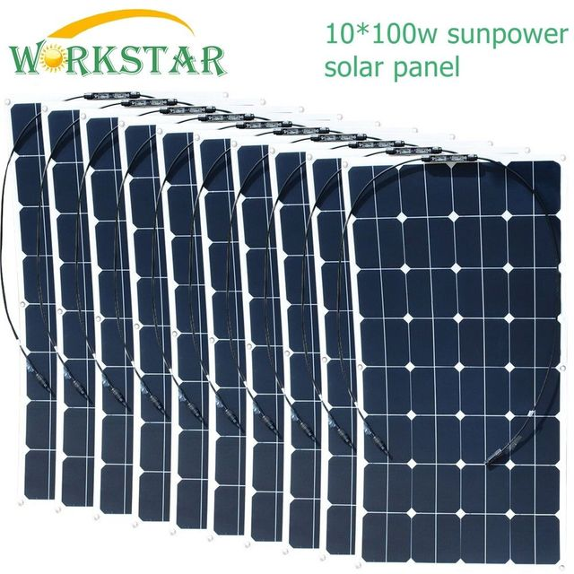US $854 4 11% OFF|10*100W Sunpower Flexible Solar Panels 18V 100 watts  Solar Module Charger for RV/Boat 1000W Solar Power System-in Solar Cells  from