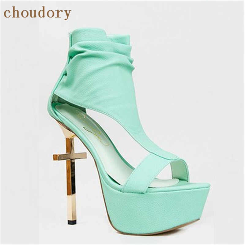 Choudory Wedding Shoes Sandals Woman Metal Cross High Heels Shoes Woman Summer Sandalias Ankle Strap Heels Party Sexy Chaussure