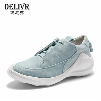 Delivr 2019 Spring New Men Sneakers Cow Suede Blue Mens Casual Vulcanized Shoes High Top Trainers Suede Leather Shoes Men's