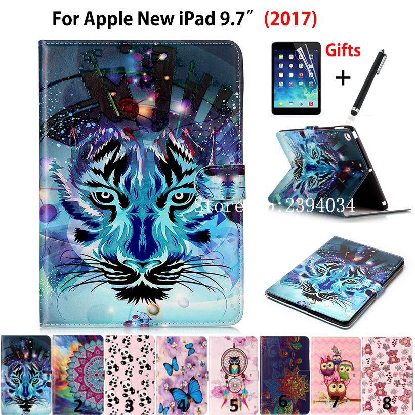 High quality Fashion Print Case Smart Cover For Apple New iPad 9.7 2017 Funda cases Model A1822 PU Leather Stand Shell+Film +Pen case cover for goclever quantum 1010 lite 10 1 inch universal pu leather for new ipad 9 7 2017 cases center film pen kf492a