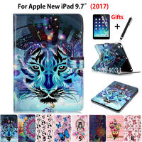 High quality Fashion Print Case Smart Cover For Apple New iPad 9.7 2017 Funda cases Model A1822 PU Leather Stand Shell+Film +Pen