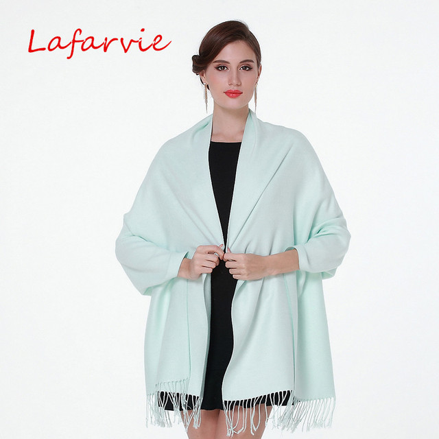 Lafarvie Hot Sale Auturm & Winter Fashion Solid Scarf Women Ladies Scarves Cashmere  Big Size 200cm*70cm Shawls