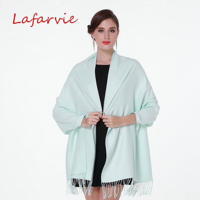 Lafarvie venda quente Auturm & inverno moda sólida lenço das senhoras das mulheres cachecóis Cashmere grande tamanho 200 cm * 70 cm xales