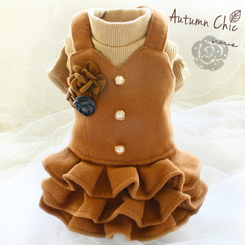 Free shipping handmade fashion dog clothes Vintage flower thickened woolen suit jacket knit dress pet for winter spring