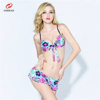 2017 Hot Sale Bikini Floral Print Women Swimwear Bandeau Top Multi Color Striped Bikini Set Sexy