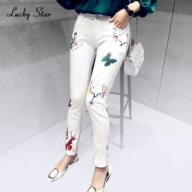 High Quality Women print jeans female trousers white ...