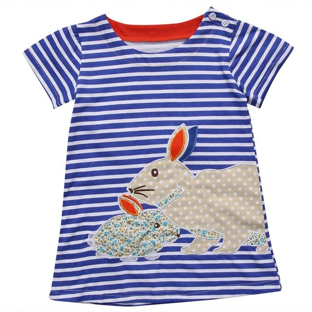 19d7aaeb18f5c4 Nieuwe Mode Mooie Kids Baby Meisjes Kleding Jurk Zomer Bunny Navy Wit  gestreepte Cartoon Leuke Tutu
