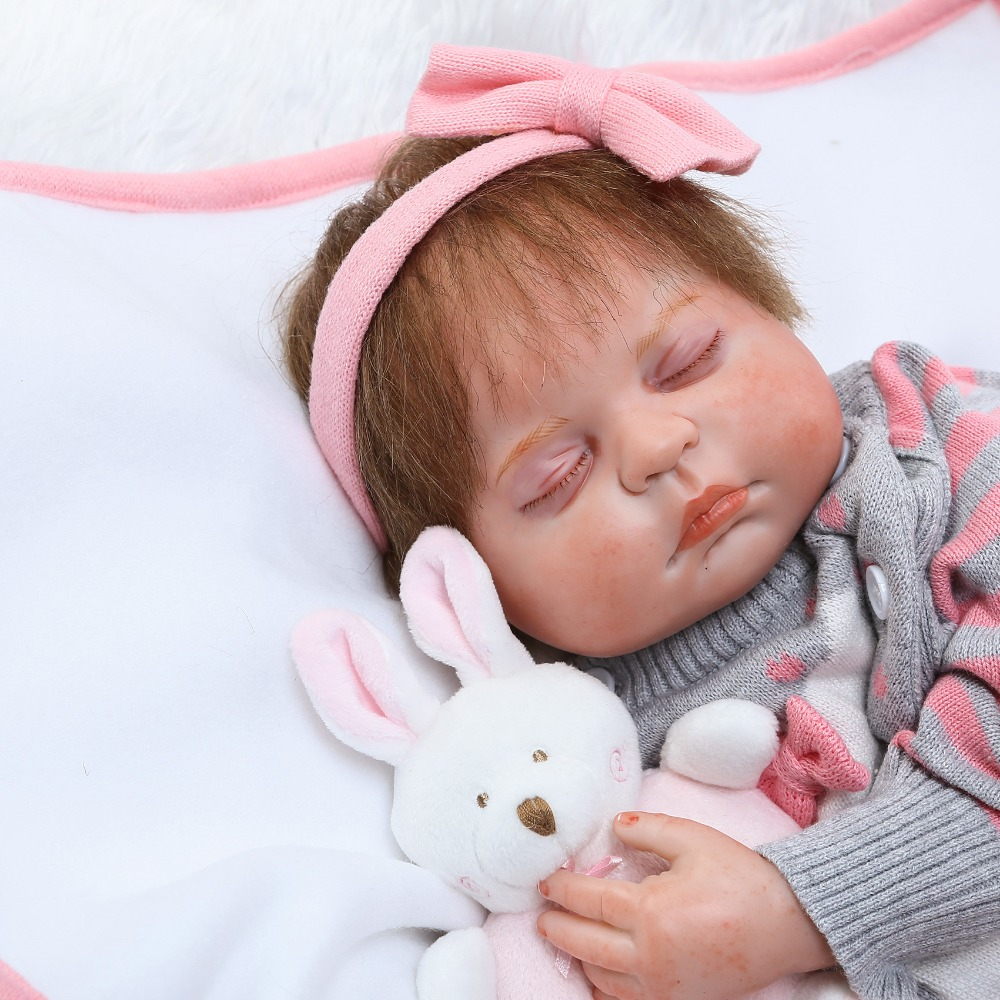 50cm Silicone Reborn Sleeping Baby Girl Doll Toys 20inch Cute Princess Newborn babies Doll Child Birthday Gift Girls Brinquedos