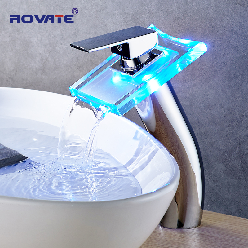ROVATE Bathroom LED Light Basin Faucet Above Counter Waterfall Taps High Basin Sink Mixer