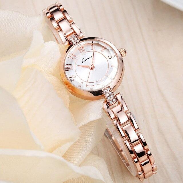 KIMIO Нержавеющей Стали Наручные Часы Женщины Японский Движение Водонепроницаемый Кварцевые Часы Rhinesone Crown Браслет Смотреть Horloge Femme