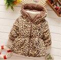 2016 novas roupas de inverno crianças meninos e meninas do bebê jaqueta acolchoada mais espessa seção leopardo cashmere casaco quente Q175