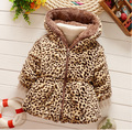 2016 nuevo invierno ropa de niños niños bebés y niñas chaqueta acolchada gruesa sección de leopardo abrigo de cachemir cálido Q175