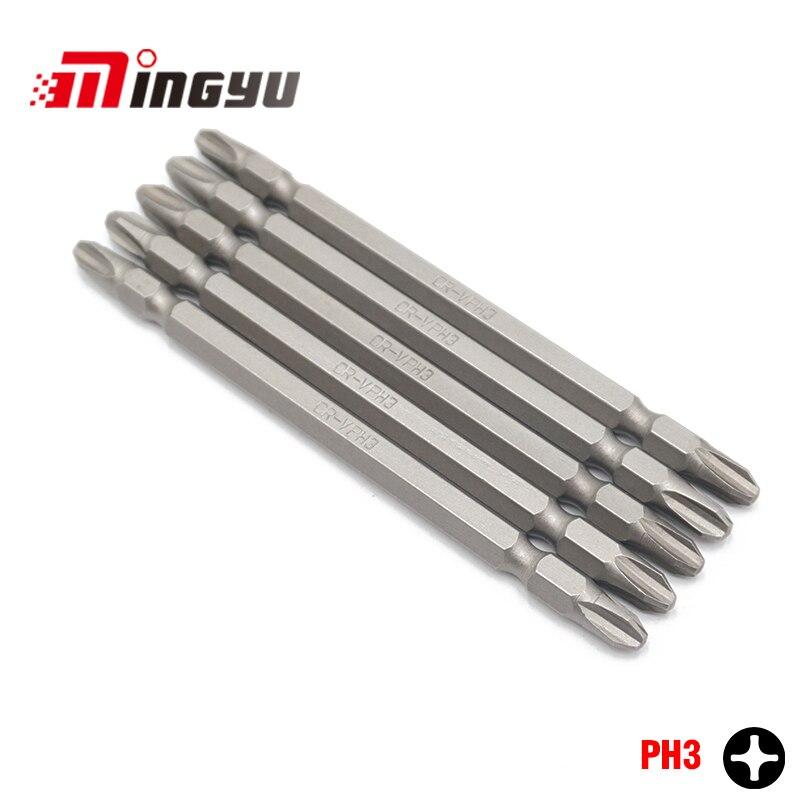5pcs 110mm Length Long Phillips PH3 Screwdriver Bits Set Household Hand Tools 1/4