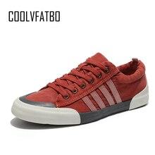 COOLVFATBO Men Canvas Shoes 2019 Fashion Men Vulcanized Shoe