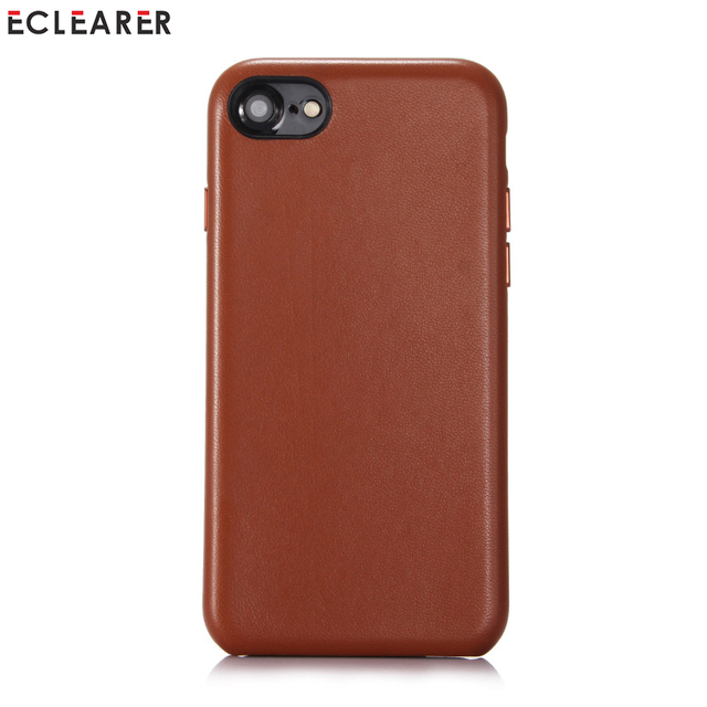 check out b26e1 9478b US $16.99 35% OFF|Original ECLEARER For iPhone 8 7 Genuine Leather Case  Luxury Slim Metal Volume Button Back Cover Cases For Apple iPhone 7 8  Plus-in ...