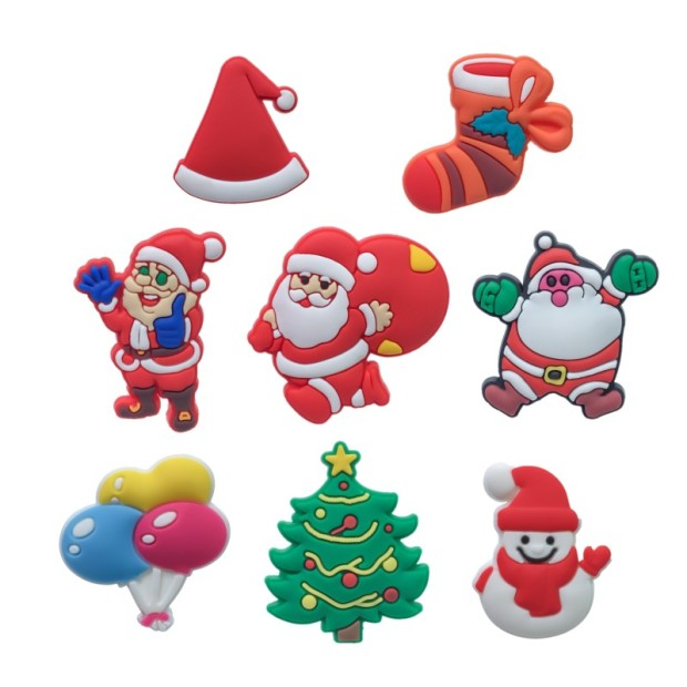 7-12PCS Christmas Decorations And Casual PVC Shoe Charms Shoe Buckles Shoes Accessories Ornaments Fit For Croc JIBZ Party Gift