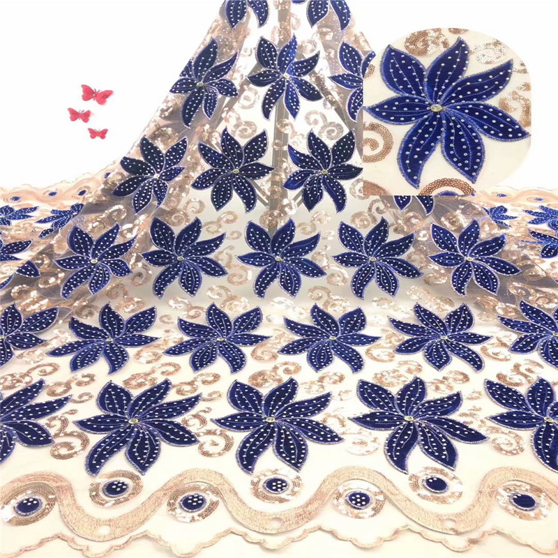 2019 Latest French Nigerian Tulle Lace New Fashion Stones Lace Fabrics High Quality Velvet Lace for