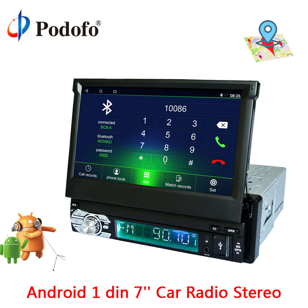 Podofo 1 Din 7 ''écran tactile rétractable Android 6.0 lecteur vidéo multimédia de voiture Auto Audio autoradio stéréo GPS FM bluetooth