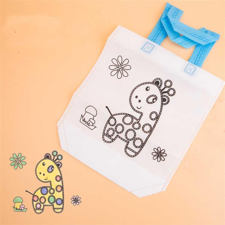 DIY pintura dibujo bolso con grafiti materiales de protección del medio ambiente varios juguetes de diseño para desarrollar la paciencia del jardín de infancia