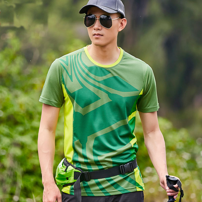 Summer Men Sport Quick Dry T-Shirts New Patch Camping Hiking T-shirts Breathable Running Climbing Short Sleeve Shirts