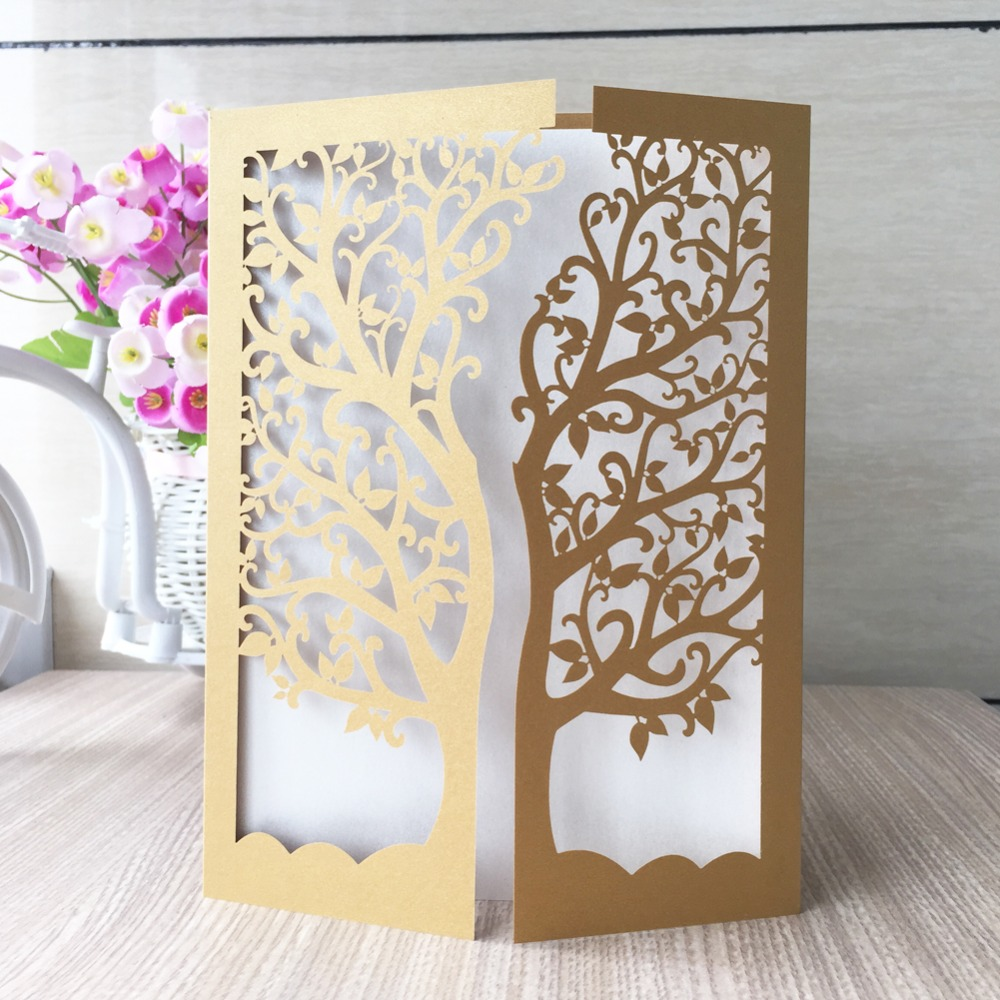 50pcs/lot hot laser cut chic tree design romantic wedding ...
