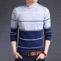 Вязаный Мужской свитер большого размера 5XL с круглым вырезом в полоску в стиле пэчворк, Тонкий деловой домашний Повседневный свитер с длинн...