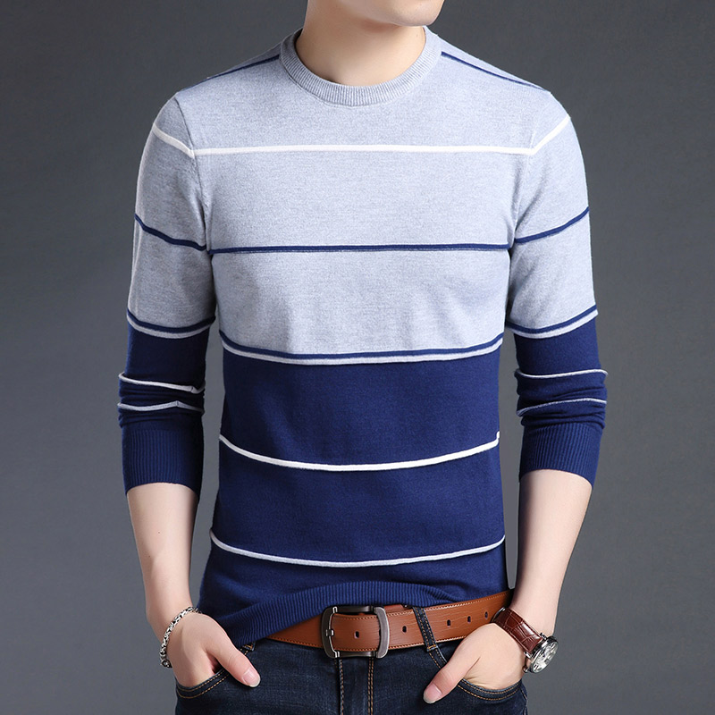 Knitted Large Size 5XL O neck Striped Patchwork Men's Sweater Slim Business Home Long Sleeve Casual Sweaters 2019 Autumn Winter-in Pullovers from Men's Clothing