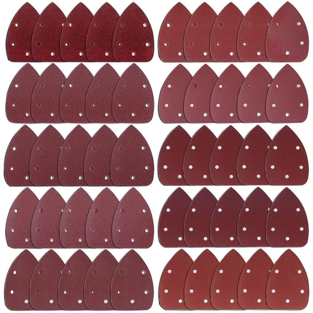 THGS 50 Pieces Mouse Detail Sander Sandpaper Sanding Paper Hook and Loop Assorted 40/ 60/ 80/ 100/ 120/ 180/ 240/ 320/ 400/ 80 120 pieces 11 hole sandpaper hook and loop sanding sheets 105 x 152 mm grit 20 each of 40 60 80 120 180 240 for multi sander