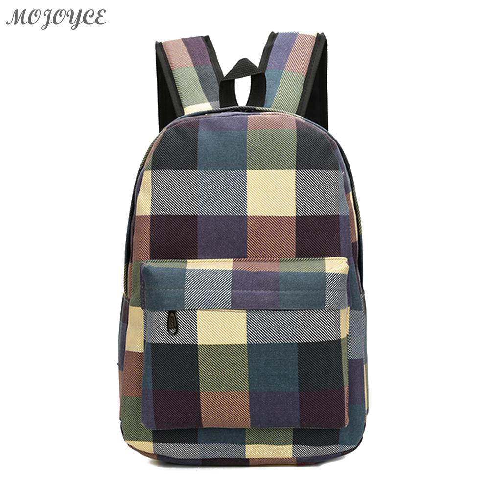 Female Canvas Concise Checkered Backpack Women Leisure Preppy Style Travel Rucksack Girls Casual School Bag Sac A Dos vintage casual small women printing backpack ladies casual preppy style school bag teenager girls female travel rucksack mochila