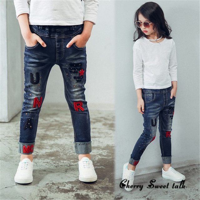 ecee39a46 Aliexpress.com : Buy Female child jeans, spring and autumn embroidery  letter children pants girls casual trousers, for age 3 5 7 8 10 12 14 years  old from ...