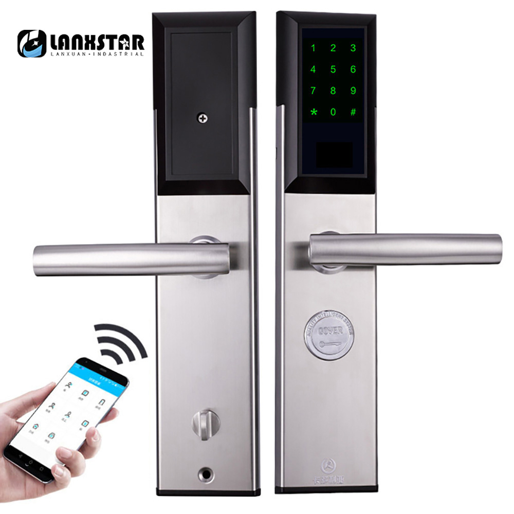 Bluetooth RFID Card Password Intelligent Lock Anti-theft Door Electronic Smart Lock Mechanical Key 304 Stainless Steel Door Lock europe standard 304 stainless steel interior door lock small 50size bedroom big 50size anti shelf strength handle lock