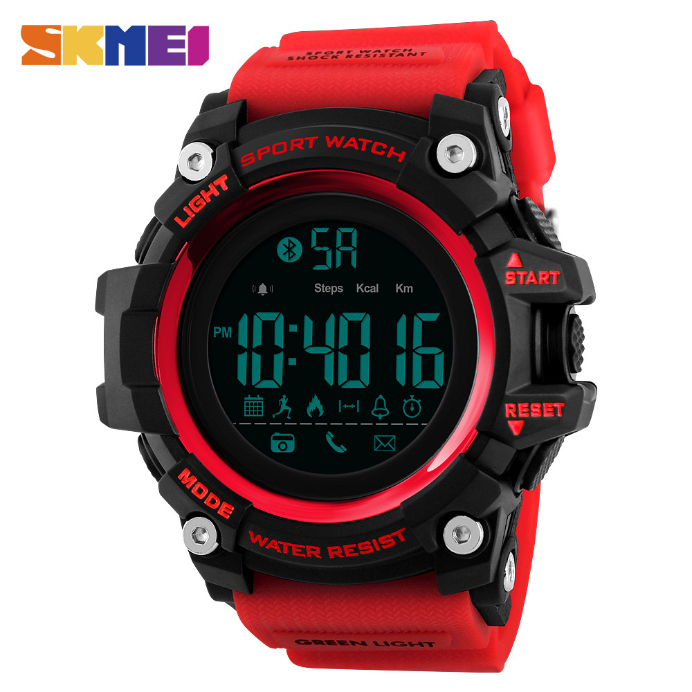 SKMEI Men Smart Sports Watch Pedometer Calorie Chronograph Fashion Outdoor Sports Watch 50 Meter Waterproof Digital Watch 1385