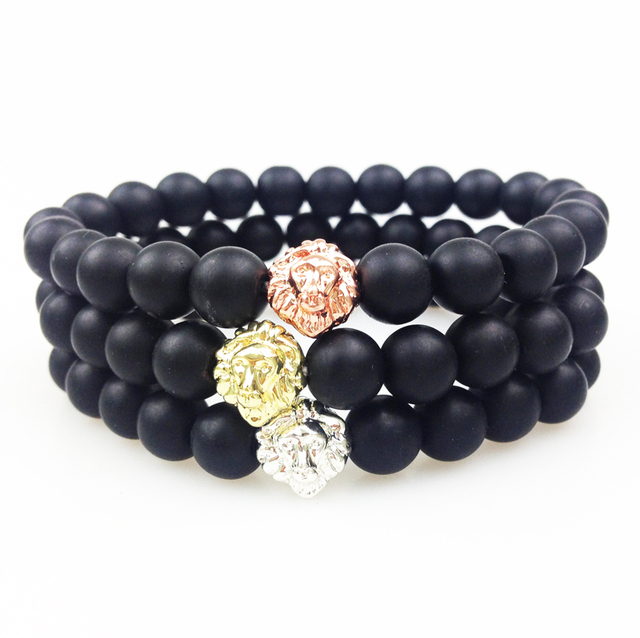 SN0353 Gold Rose Gold Silver Lion Head Bead Bracelet 8mm Matte Black Onyx Bead Bracelet Women Men Elastic Bracelet Stone Jewlery