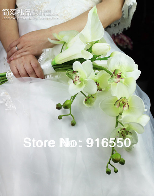 Bridal Bouquet Silk Phalaenopsis Orchid Calla Lilies Tulip Wedding