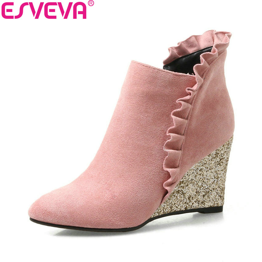 ESVEVA 2018 Women Boots Sequins High Heels Wedges Spring Autumn Ankle Boots Wedges Heel Pointed Toe Ladies Boots Size 34-42 brand rivets patchwork ankle boots hidden wedges platform martin boots high heels pointed toe spring autumn boots zapatos mujer