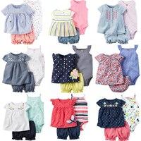 Для малышей Одежда для девочек 2018 лето хлопок детская одежда для новорожденных девочек Детские ползунки + шорты + платье костюм из 3 предмето...
