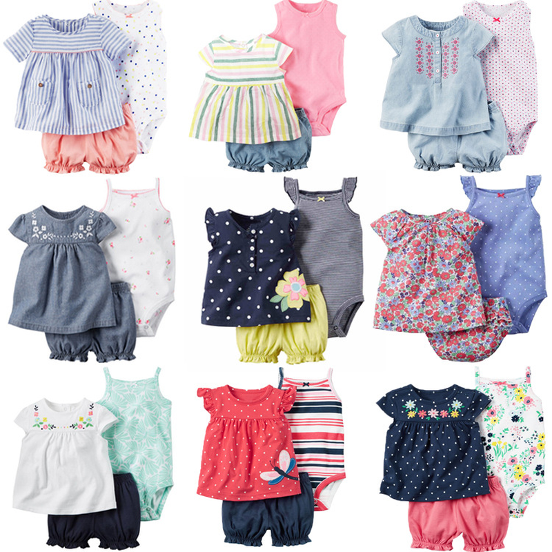 Toddle Girl Clothing Set 2018 Summer Cotton Newborn Baby Girls Clothes Infant Romper+Shorts+Dress 3pcs suit set Baby Jumpsuit