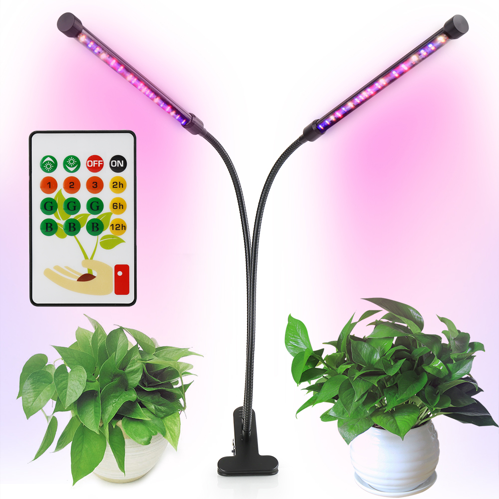 Smart LED Grow Light with <font><b>Remote</b></font> Control Dual Head 360degree Flexible Rotation <font><b>Holder</b></font> Clip Plant Table Lamp for Indoor Plants image