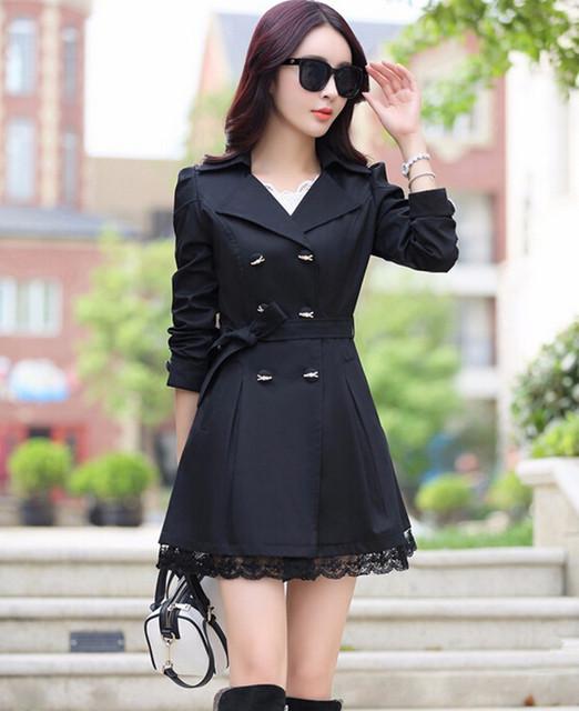 2016 Spring New Trench Coat With Belt Women Mid Long Style Double Breasted Lace Patchwork Coats Loose Outerwear Plus Size C8019