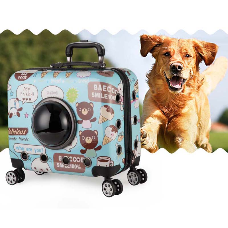 BeaSumore Cartoon Pet Rolling Luggage Spinner Trolley Car Dog Travel Bag On Wheel Suitcase Wheels 18 Inch Pets Carry On Trunk