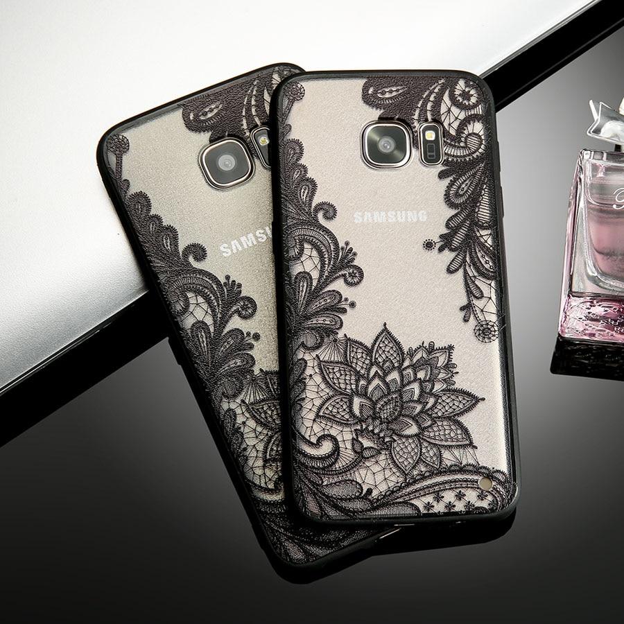 Retro Lace Flower <font><b>Phone</b></font> <font><b>Cases</b></font> For Smasung Galaxy S8 Plus S7 S6 edge Fundas Fashion <font><b>Sexy</b></font> Paisley Floral <font><b>Case</b></font> Soft TPU Back Cover