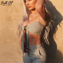 Sexy Strappy bodysuit women fashion Plaid print 2 Two piece bodycon rompers womens jumpsuit Summer Casual Party body overalls HL